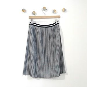 Topshop Pleated Midi Jersey Skirt Grey | 8